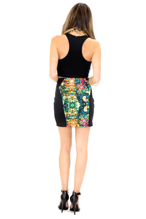 MIRROR PRINT MINI SKIRT - Green - Haute & Rebellious