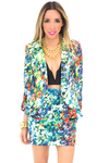FLORAL PRINT CROPPED BLAZER - Haute & Rebellious
