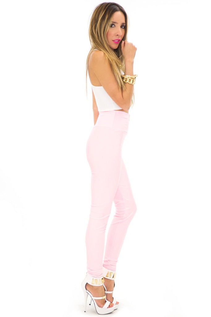 LORIN HIGH WAISTED LEGGINGS - Pink - Haute & Rebellious
