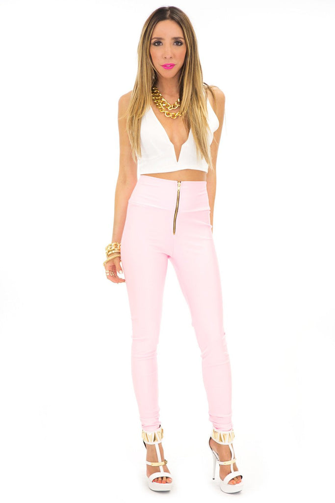 LORIN HIGH WAISTED LEGGINGS - Pink