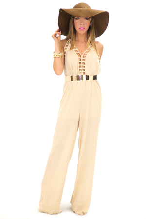 HALTER CROSS BACK JUMPSUIT - Haute & Rebellious