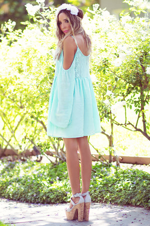 SHOULDER CUTOUT BELL SLEEVE SUN DRESS - Mint - Haute & Rebellious