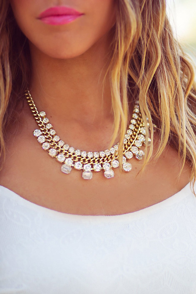 DIAMOND & SMALL CHAIN NECKLACE - Gold - Haute & Rebellious