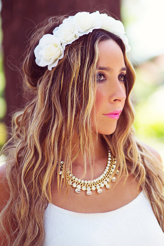 FLORAL HEADPIECE - White