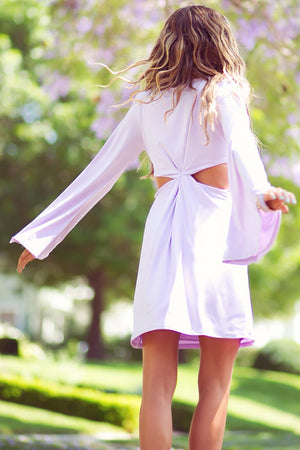 BELL SLEEVE CUTOUT DRESS - Lavender - Haute & Rebellious