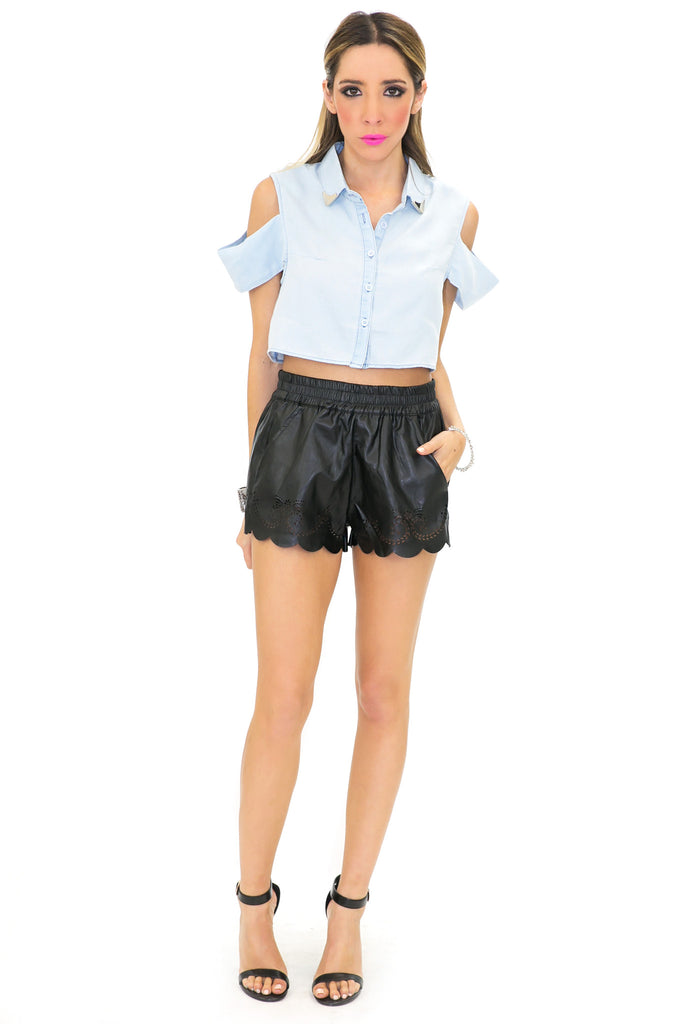 TRISTIN LASER-CUT SHORTS - Black