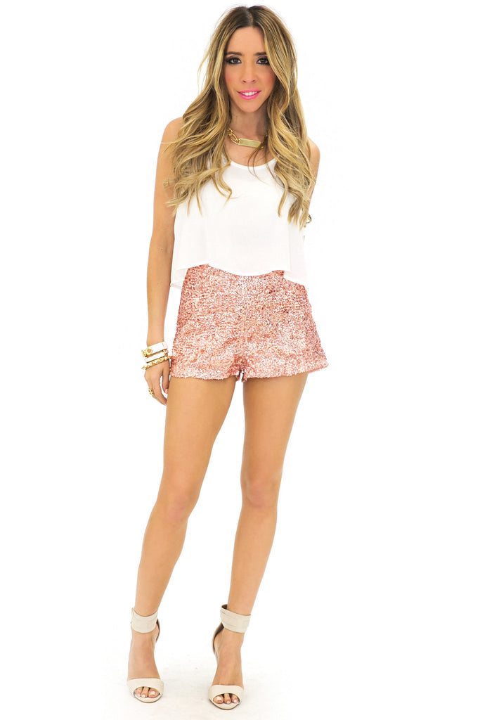 HIGH WAISTED SEQUIN SHORTS - Blush