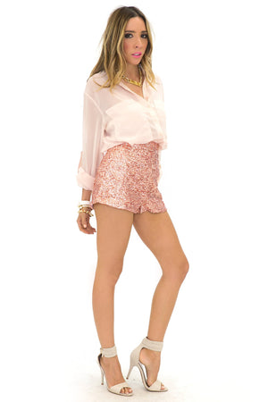 HIGH WAISTED SEQUIN SHORTS - Blush - Haute & Rebellious