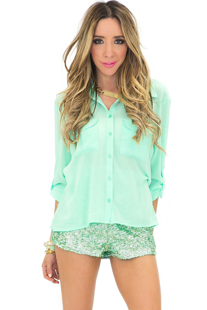 CUTOUT TWO POCKET TOP - Mint