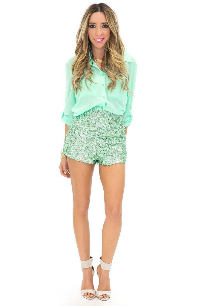 HIGH WAISTED SEQUIN SHORTS - Mint