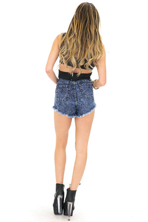 DARK ACID WASH HIGH WAISTED DENIM SHORTS - Haute & Rebellious