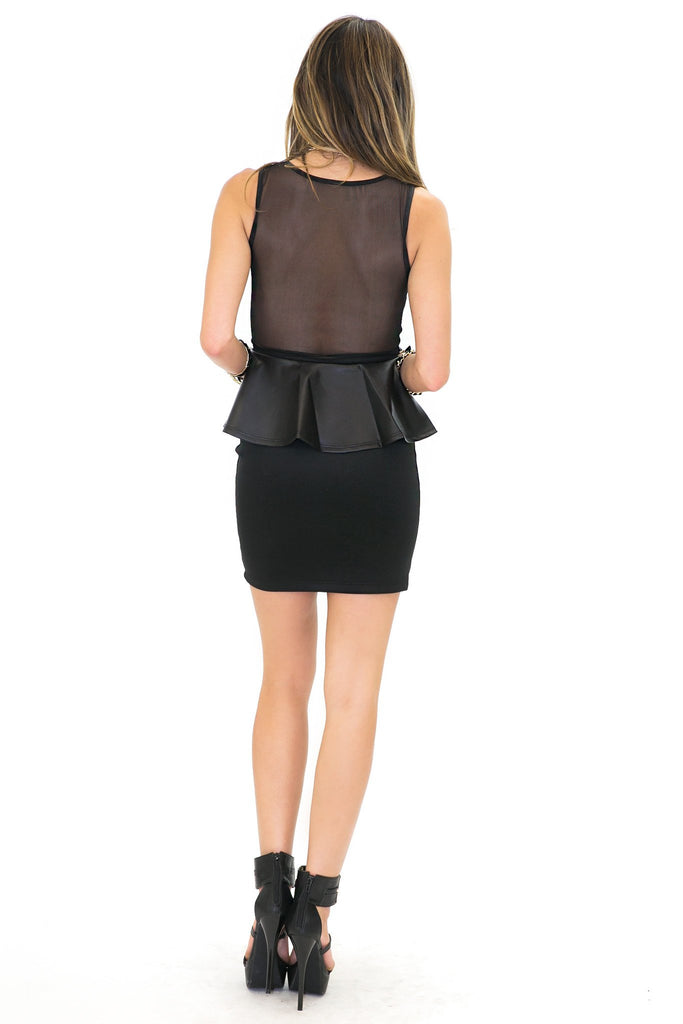 LANA LEATHER MESH CONTRAST PEPLUM DRESS