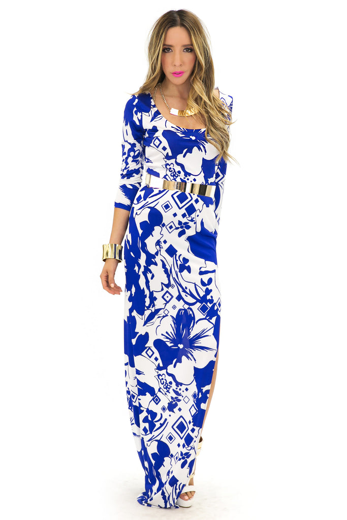 TROPICAL PRINT SLIT DRESS - Blue/White