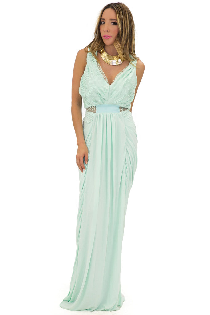 EMILIA V-NECK DRAPED GOWN