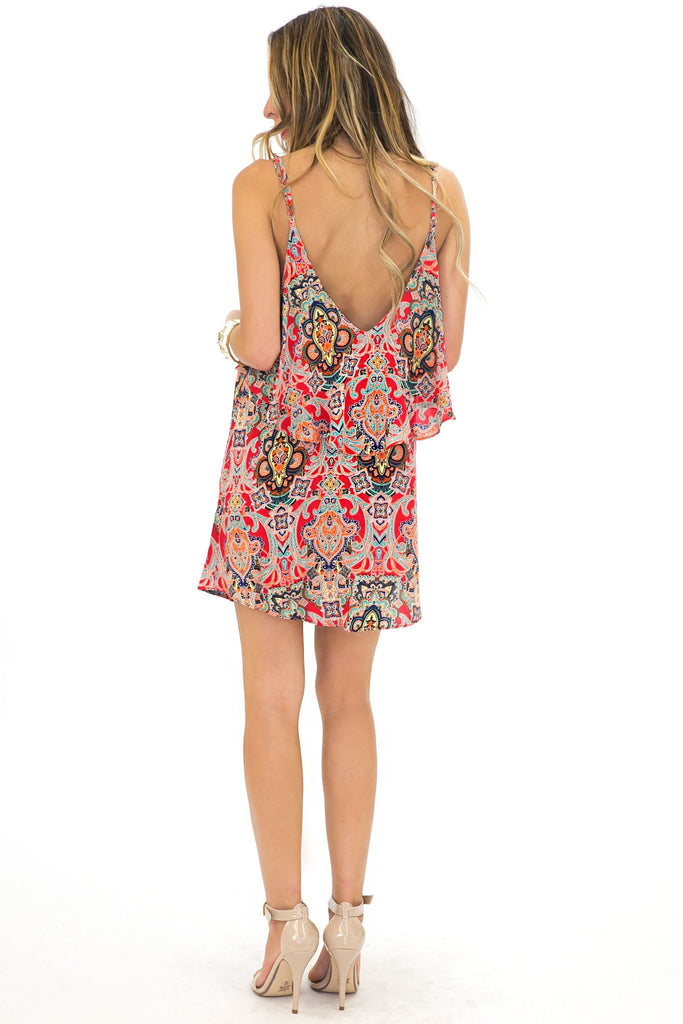 EMMA RUFFLE PAISLEY PRINT DRESS