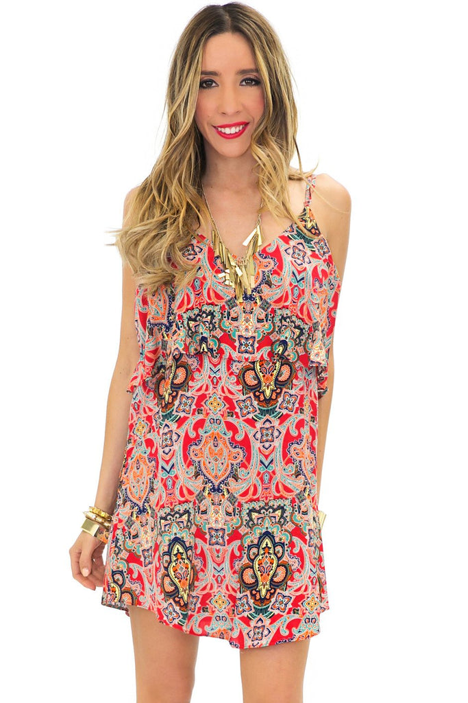 EMMA RUFFLE PAISLEY PRINT DRESS - Haute & Rebellious