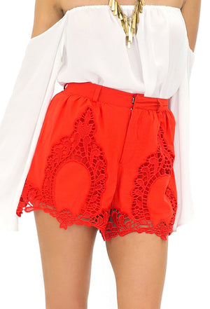 CATHERINE CROCHET DETAIL SHORTS - Red - Haute & Rebellious