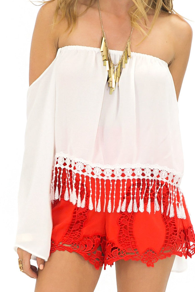 LACE FRINGE BELL SLEEVE TOP - White
