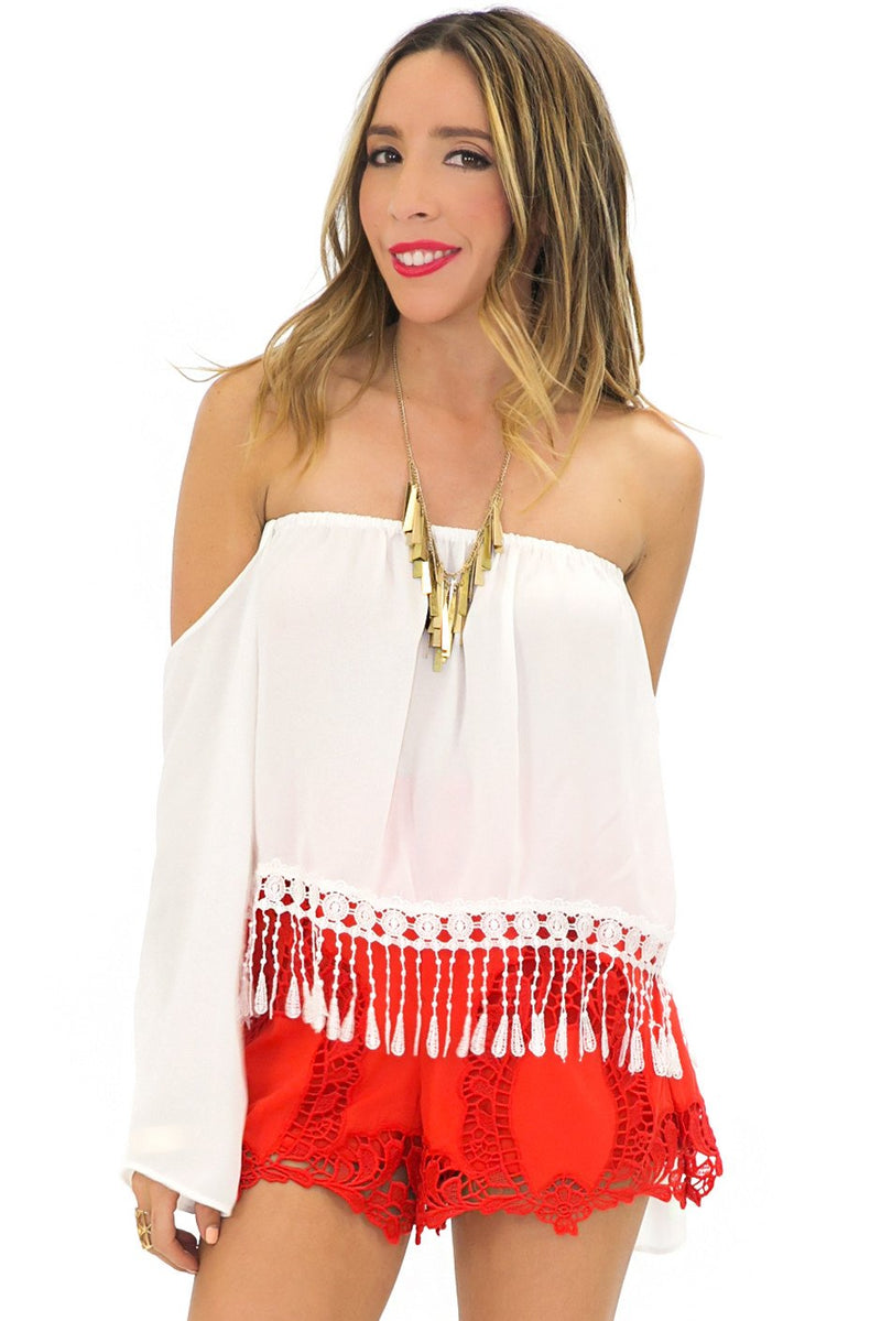LACE FRINGE BELL SLEEVE TOP - White - Haute & Rebellious