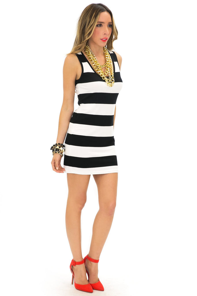 CORINE STRIPED BASIC DRESS