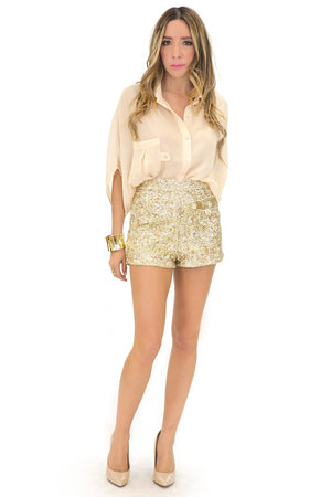 HIGH WAISTED SEQUIN SHORTS - Gold - Haute & Rebellious