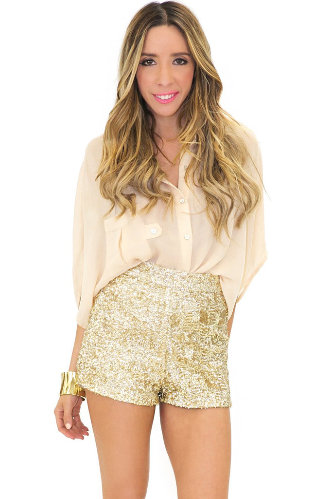 HIGH WAISTED SEQUIN SHORTS - Gold