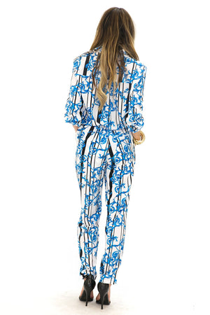 ELEN ELECTRIC PAISLEY SLACKS - Blue - Haute & Rebellious