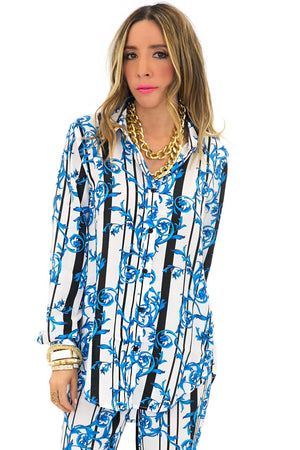 ELEN ELECTRIC PAISLEY BLOUSE - Blue - Haute & Rebellious