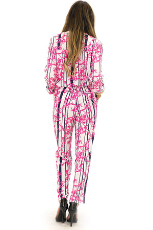 ELEN ELECTRIC PAISLEY SLACKS - Pink - Haute & Rebellious