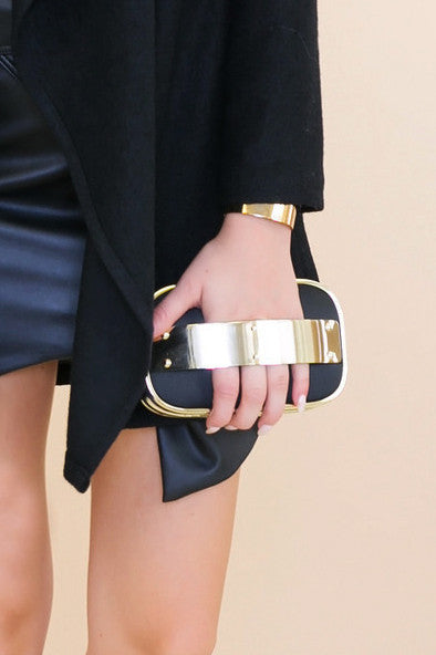 ESSNER GOLD PLATED FABRIC CLUTCH - Haute & Rebellious