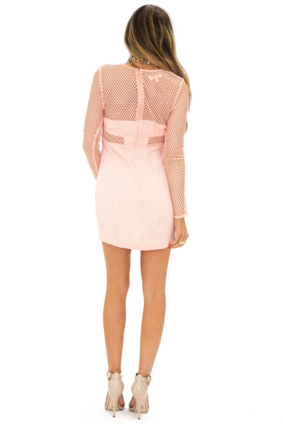 NET CUTOUT BODYCON DRESS - Peach (Final Sale) - Haute & Rebellious