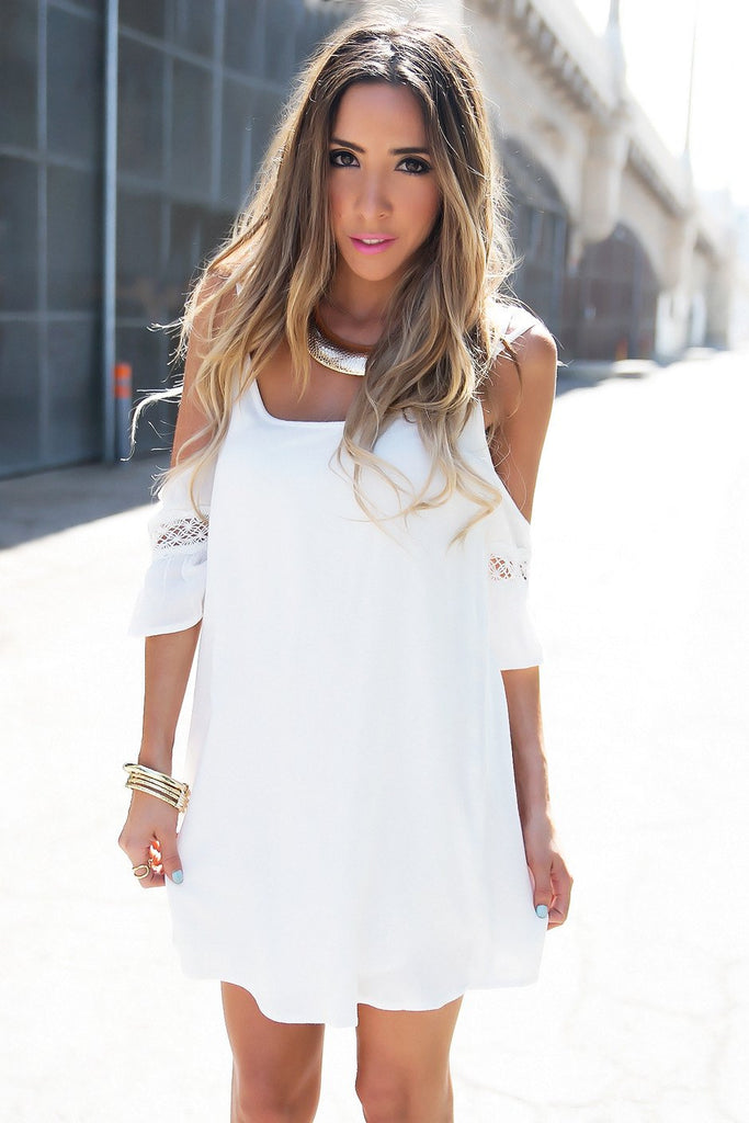 CLARICE OFF SHOULDER DRESS - White