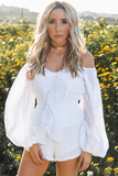 Waiting Here Off Shoulder Puff Sleeve Top - White