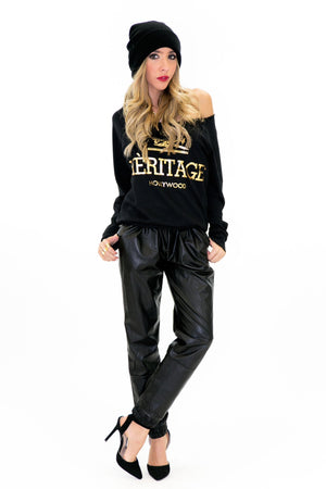 HERITAGE SWEATSHIRT TOP - Black - Haute & Rebellious