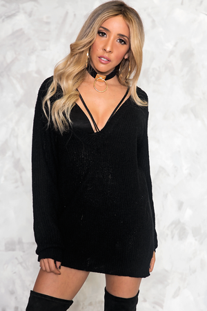 In Too Deep-V Knit Sweater - Haute & Rebellious
