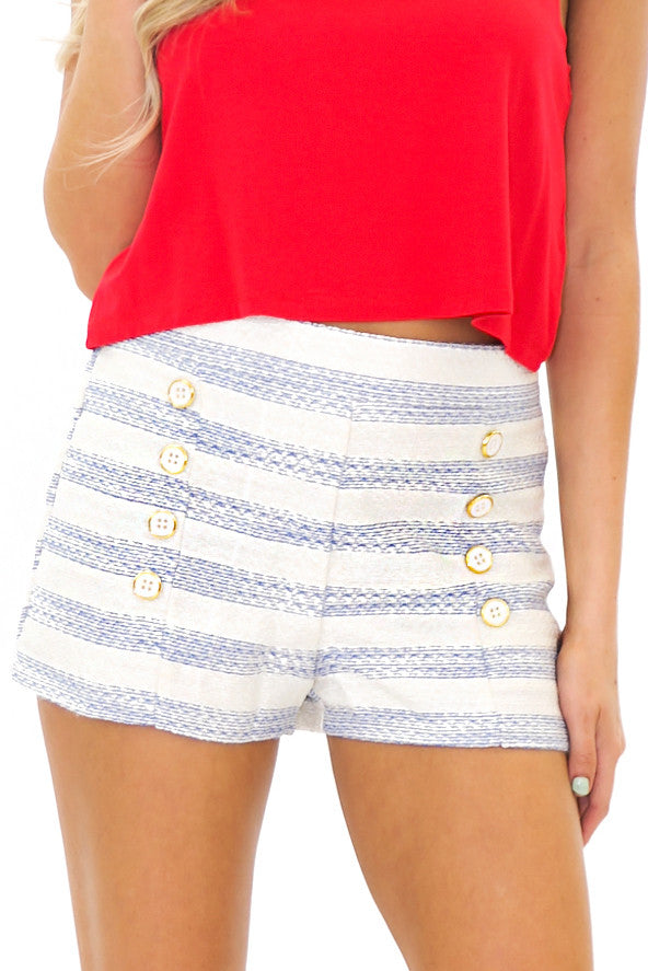 RENVIN STRIPED SHORTS - Blue