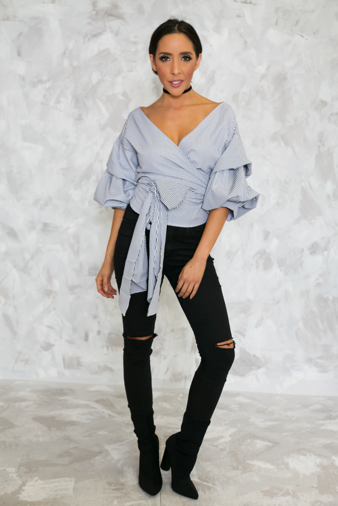 Call Me Striped Ruched Sleeve Top - Black