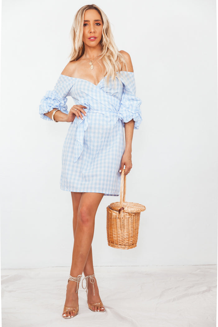 Gingham Wrap Tie Mini Dress