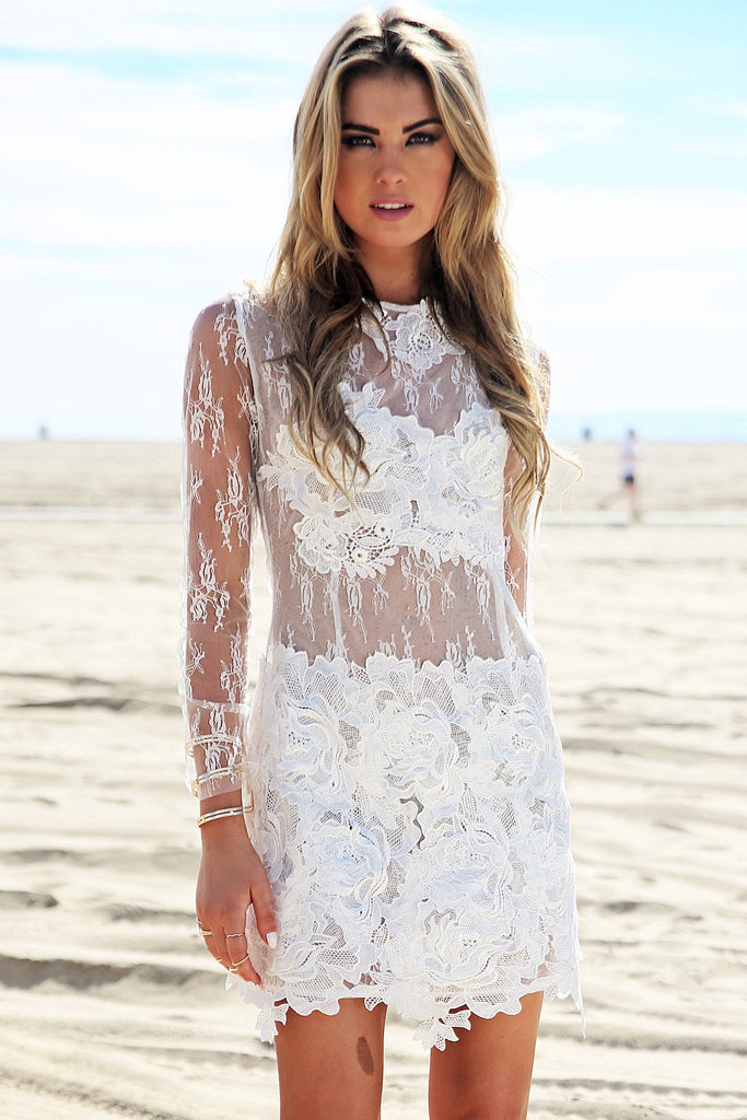 Nallina Long Sleeve Lace Dress - White - Haute & Rebellious