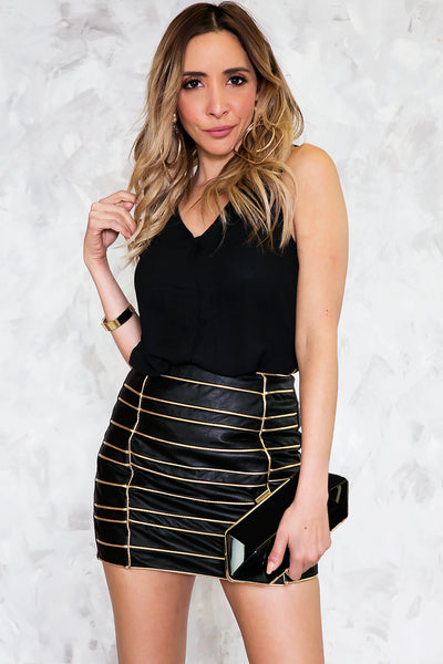 On The Stripe Leather Skirt