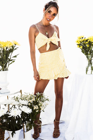 Gingham Crop Top with Tie - Yellow