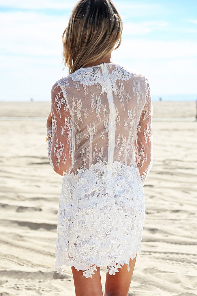 Nallina Long Sleeve Lace Dress - White