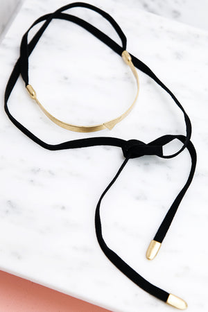 Point Forward Leather Choker - Haute & Rebellious