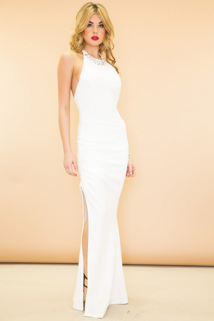 Stella Slit Halter Maxi Dress - White