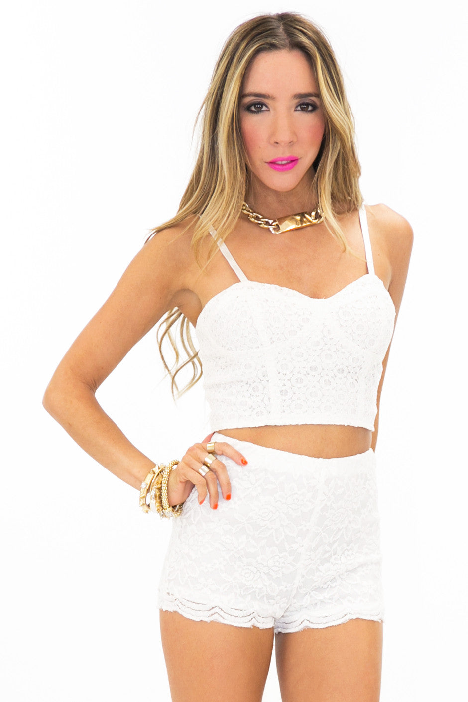 STACIE LACE SHORTS - White - Haute & Rebellious