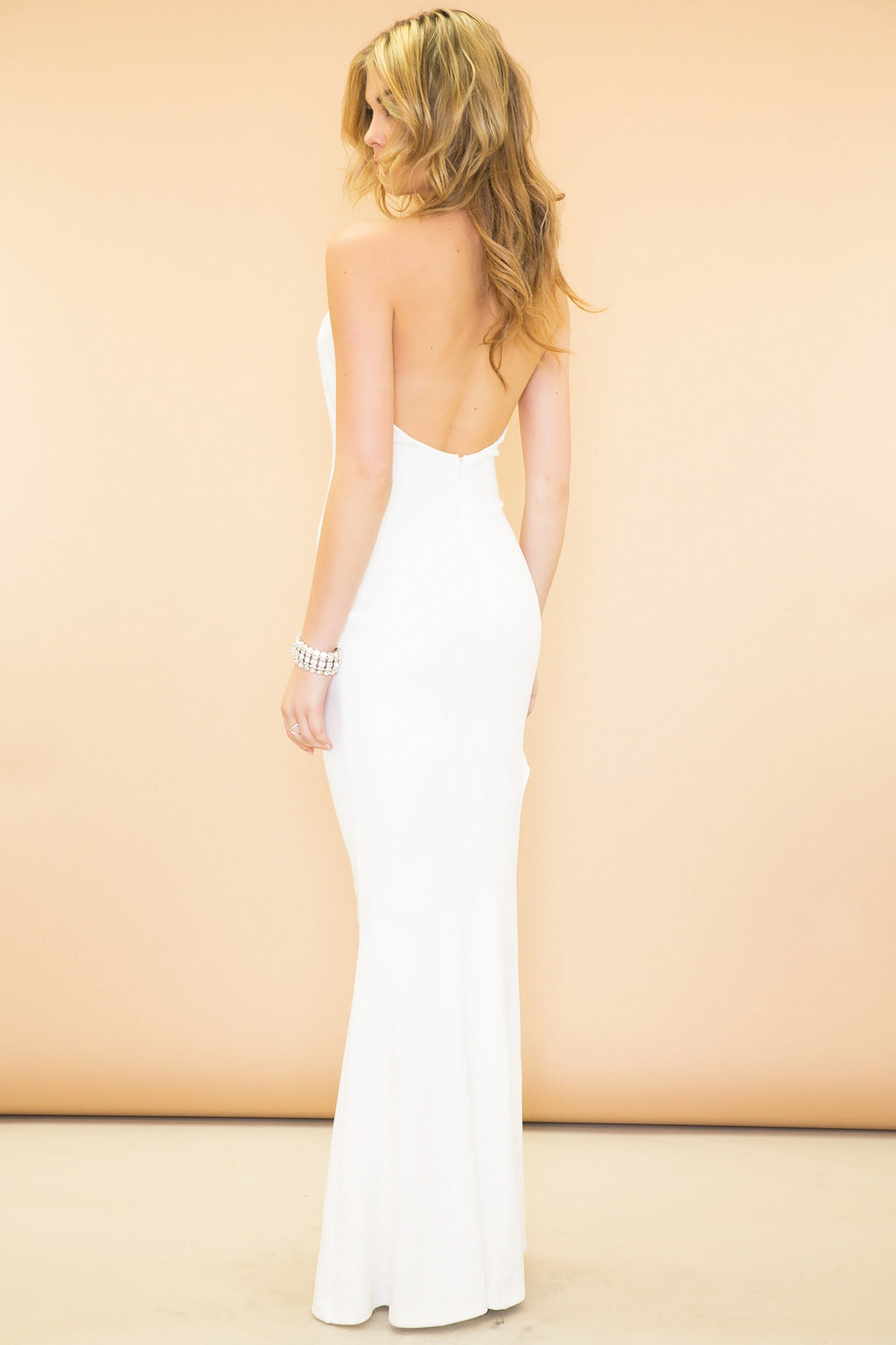 Stella Slit Halter Maxi Dress - White - Haute & Rebellious