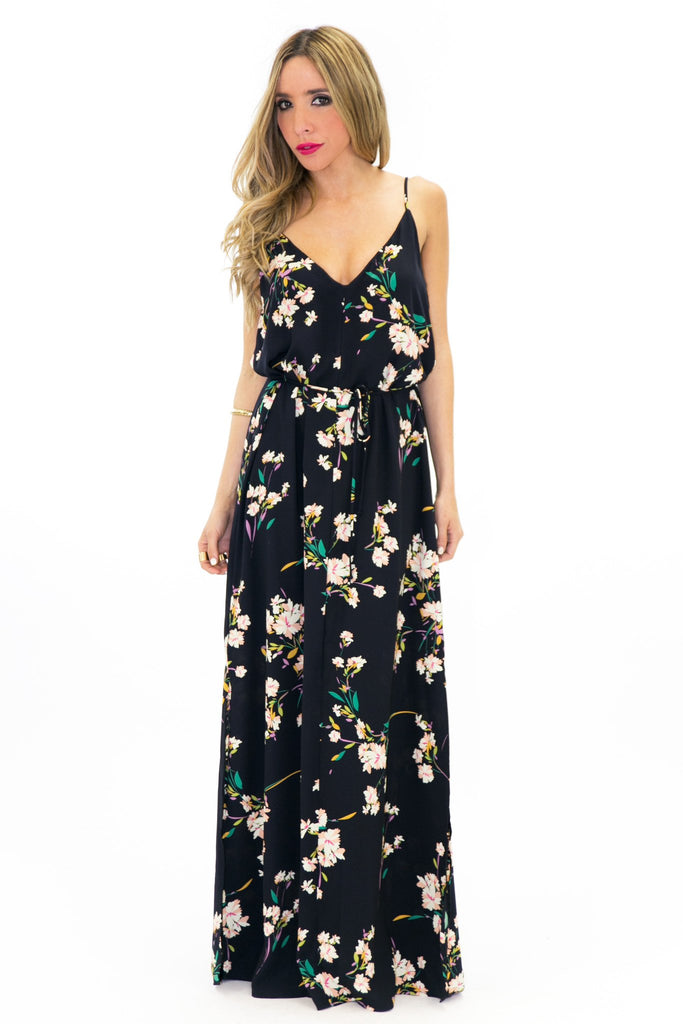 GRACEIN FLORAL PRINT MAXI DRESS