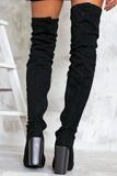 Heart on Fire Thigh High Boots - Black