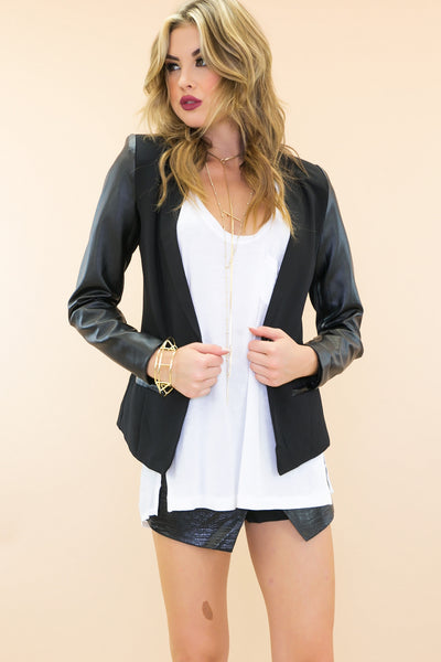Rand Leather Sleeve Blazer - Black /// Only 1-L Left ///