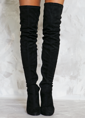 Heart on Fire Thigh High Boots - Black - Haute & Rebellious